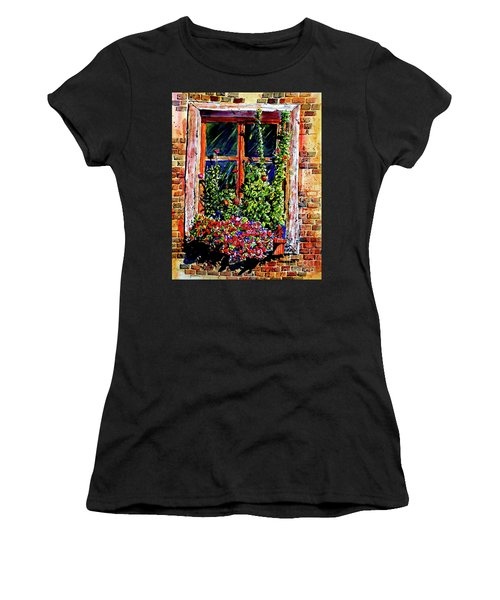 Flower Window Women's T-Shirt (Athletic Fit)