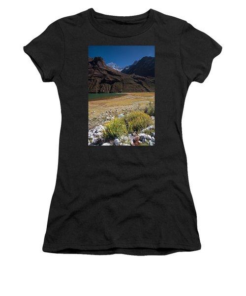 Flowers And Mountain Lake In Santa Cruz Valley Women's T-Shirt