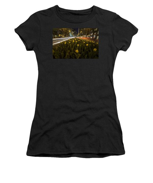 Flowers At Night On Chicago's Mag Mile Women's T-Shirt