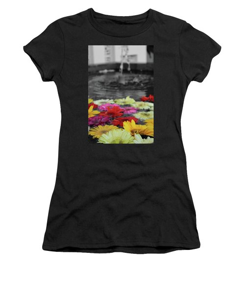 Flowers In Fountain Women's T-Shirt (Athletic Fit)