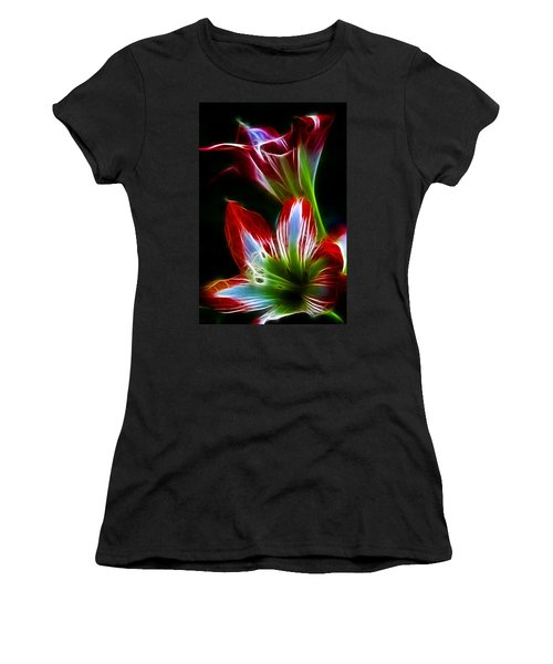 Flowers In Green And Red Women's T-Shirt (Athletic Fit)