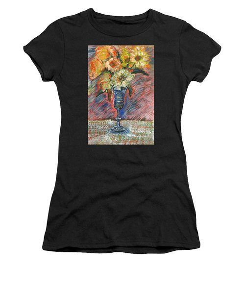 Flowers In Wine Glass Women's T-Shirt (Athletic Fit)