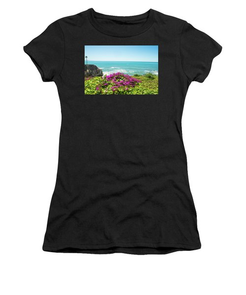 Flowers On The Cliff Women's T-Shirt (Athletic Fit)