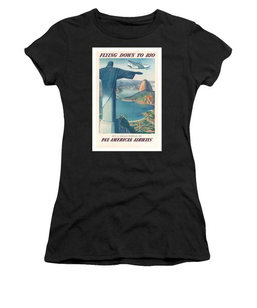 Flying Down To Rio Brazil Christ The Redeemer Statue Vintage Travel Poster Women's T-Shirt