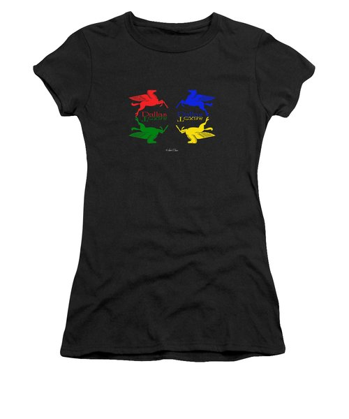 Flying Red Green Blue Yellow Horse Dallas Texas Reflections Women's T-Shirt (Athletic Fit)