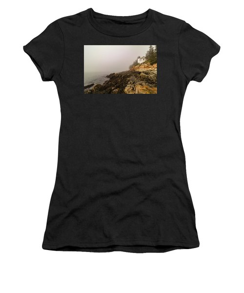 Women's T-Shirt (Athletic Fit) featuring the photograph Fog At Bass Harbor Lighthouse by Jeff Folger
