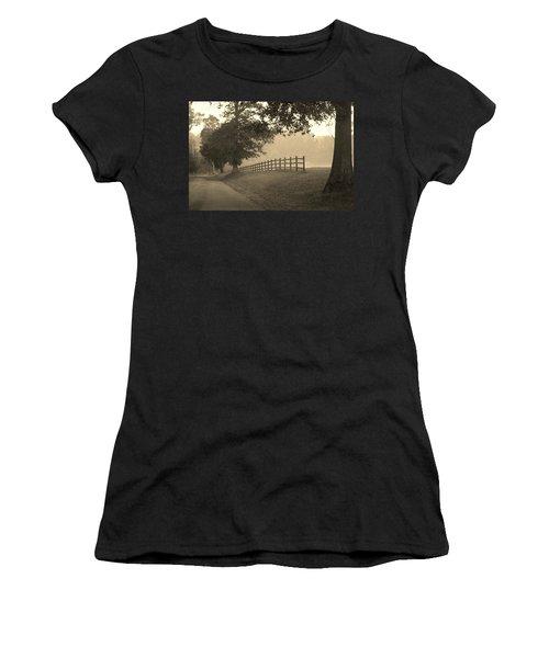 Foggy Fence Line Women's T-Shirt