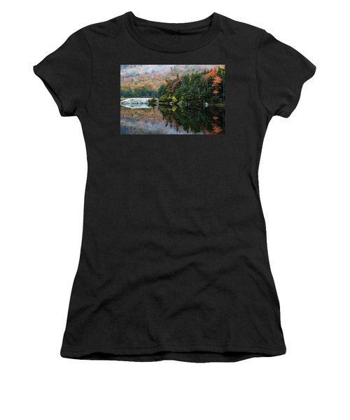 Women's T-Shirt (Athletic Fit) featuring the photograph Foggy Foliage Morning Kinsman Notch by Jeff Folger