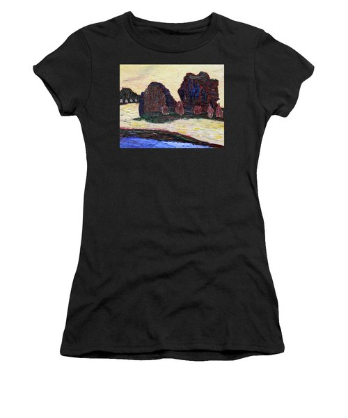 Women's T-Shirt (Athletic Fit) featuring the painting Sayreville Foggy Morning by Vadim Levin
