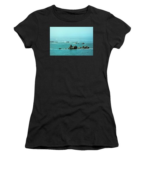 Sunny Blue Pacific Ocean Along The Oregon Coast Women's T-Shirt (Athletic Fit)