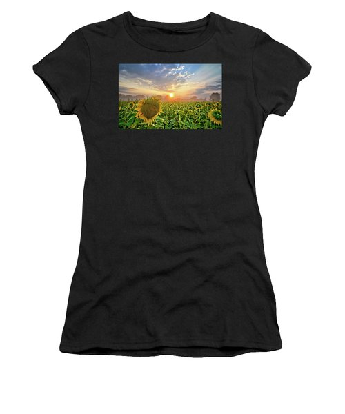 Foggy Yellow Fields Women's T-Shirt (Athletic Fit)