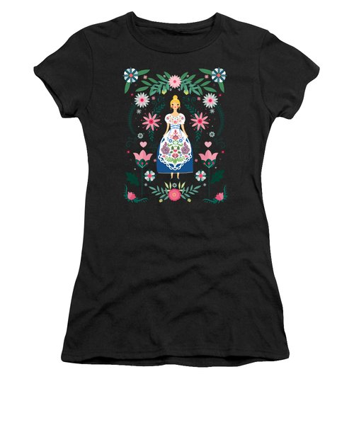 Folk Art Forest Fairy Tale Fraulein Women's T-Shirt (Athletic Fit)