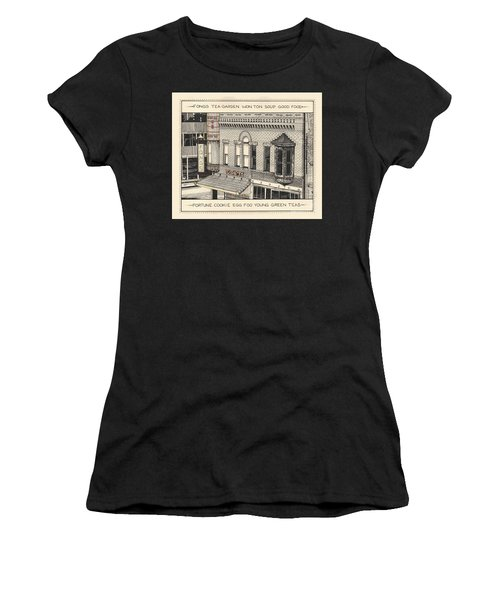 Women's T-Shirt (Athletic Fit) featuring the drawing Fongs Tea Garden by Chholing Taha