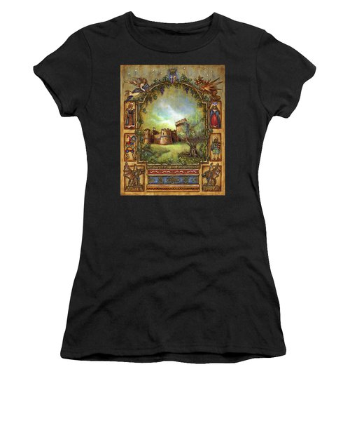 Women's T-Shirt (Athletic Fit) featuring the painting For The Love Of Castles by Retta Stephenson