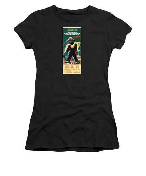 Forbidden Planet In Cinemascope Retro Classic Movie Poster Portraite Women's T-Shirt (Junior Cut) by R Muirhead Art