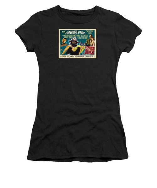 Forbidden Planet In Cinemascope Retro Classic Movie Poster Women's T-Shirt (Athletic Fit)