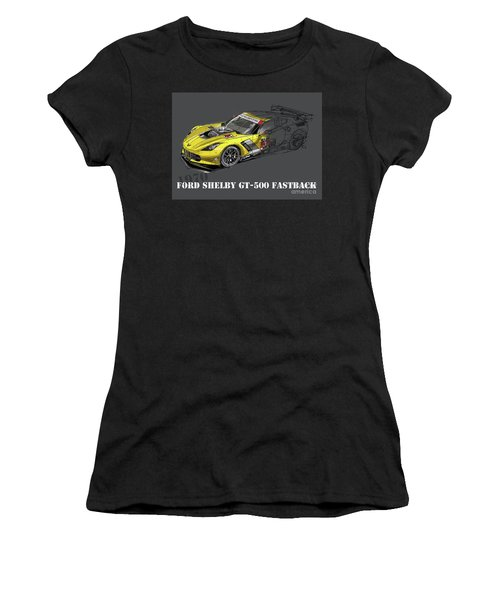Ford Shelby Gt500 Fastback, Yellow And Black Sketch Women's T-Shirt
