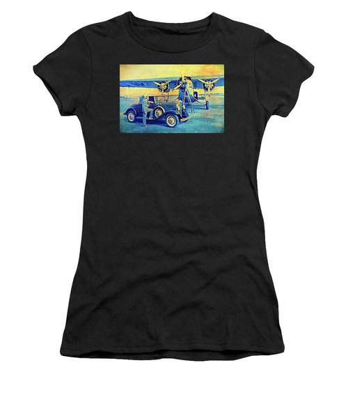 Ford Trimotor And 1931 Model A Roadster Women's T-Shirt