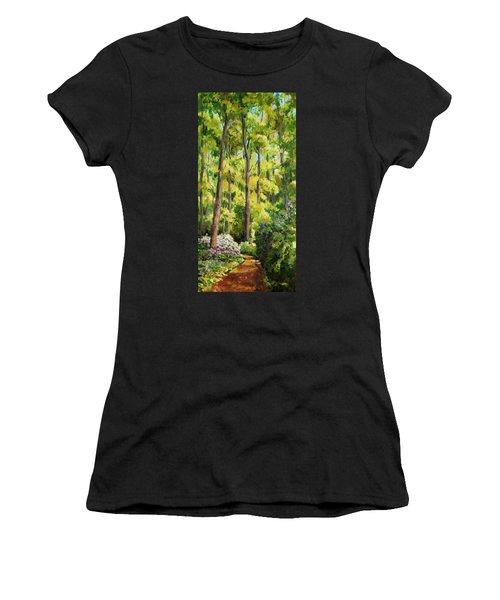 Women's T-Shirt featuring the painting Forest Pathway by Ingrid Dohm