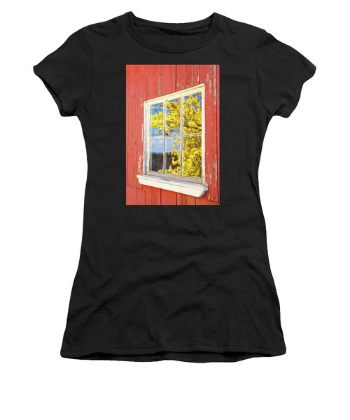 Women's T-Shirt featuring the photograph Forsythia Reflection 1 by Brian Hale