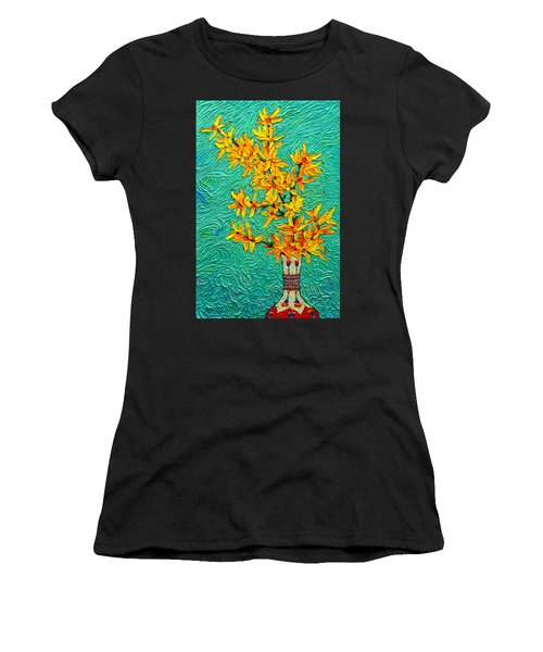 Forsythia Vibration Modern Impressionist Flower Art Palette Knife Oil Painting By Ana Maria Edulescu Women's T-Shirt (Athletic Fit)