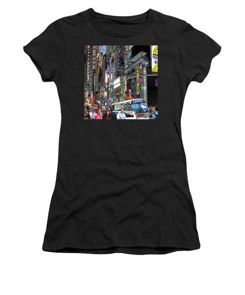 Women's T-Shirt (Junior Cut) featuring the photograph Forty Second And Eighth Ave N Y C by Iowan Stone-Flowers