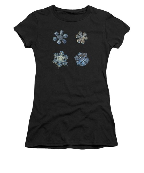 Four Snowflakes On Black 2 Women's T-Shirt