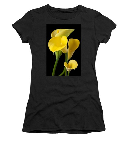 Four Yellow Calla Lilies Women's T-Shirt (Athletic Fit)