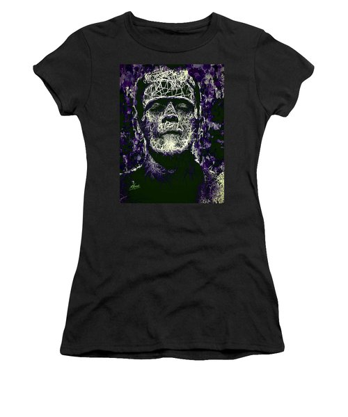Women's T-Shirt featuring the mixed media Frankenstein by Al Matra