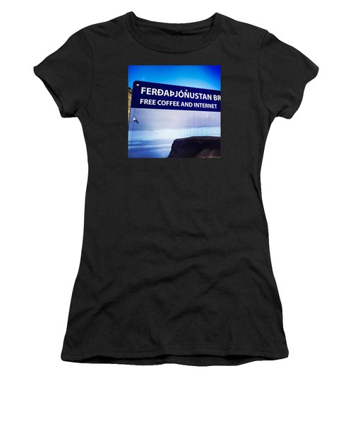 Free Coffee And Internet - Sign In Iceland Women's T-Shirt (Athletic Fit)