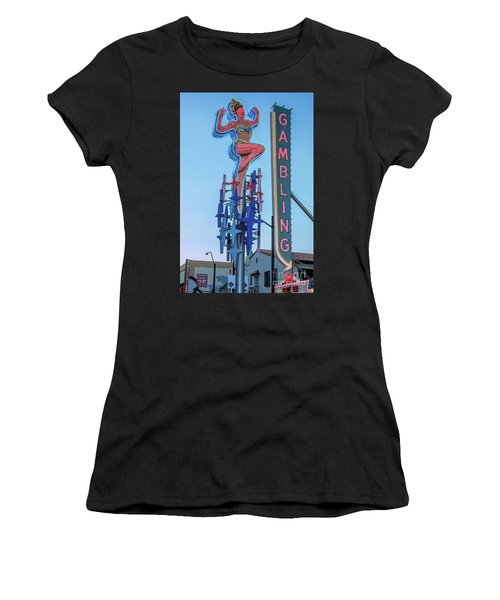 Fremont Street Lucky Lady And Gambling Neon Signs Women's T-Shirt (Athletic Fit)