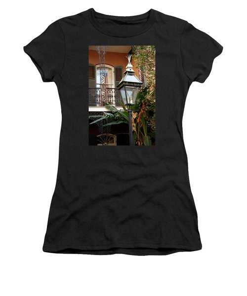 Women's T-Shirt (Junior Cut) featuring the photograph French Quarter Courtyard by KG Thienemann
