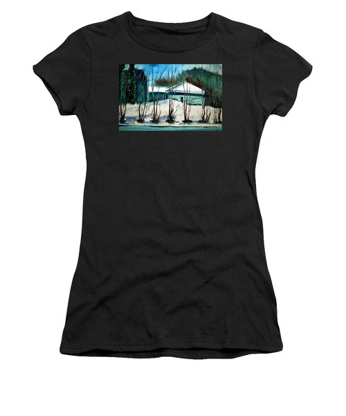 Women's T-Shirt (Junior Cut) featuring the painting Fresh Snow Double Matted by Charlie Spear