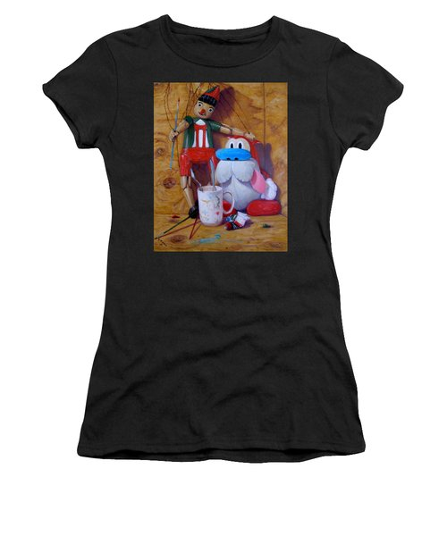 Friends 2  -  Pinocchio And Stimpy   Women's T-Shirt (Athletic Fit)