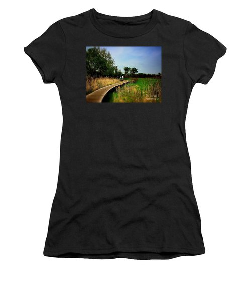 Friends Walking The Wetlands Trail Women's T-Shirt (Athletic Fit)