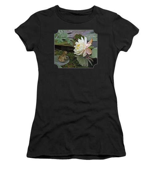 Frog In Awe Of White Water Lily Women's T-Shirt