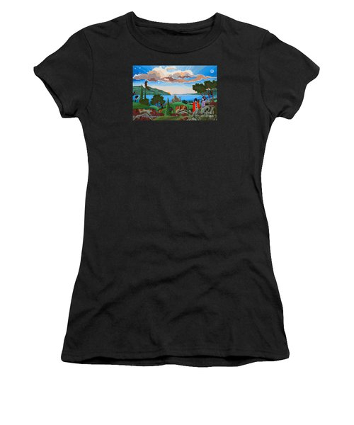 Women's T-Shirt (Athletic Fit) featuring the painting From A High Place, Troubles Remain Small by Chholing Taha