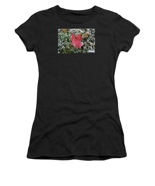 Frosted Maple Leaf  Women's T-Shirt (Athletic Fit)