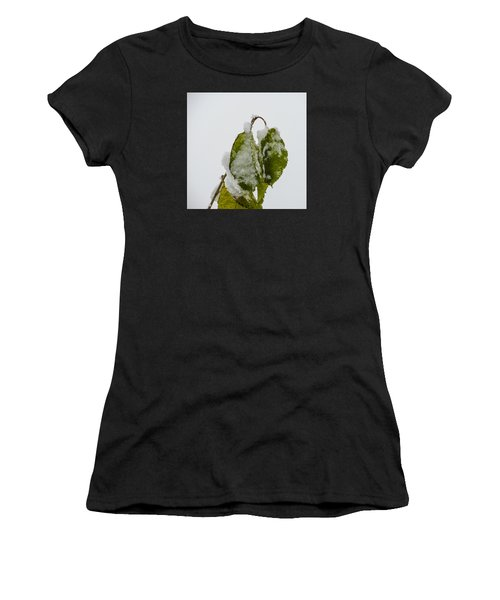 Frosty Green Leaves Women's T-Shirt (Athletic Fit)
