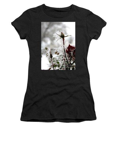 Frosty Winter Rose Buds Women's T-Shirt