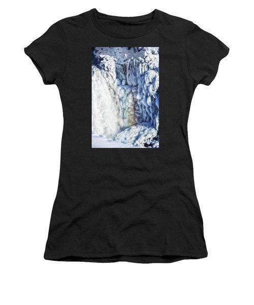 Women's T-Shirt (Junior Cut) featuring the photograph Frozen Waterfall Gullfoss Iceland by Matthias Hauser