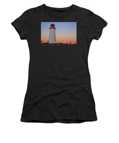 Full Moon At Peggy's Point Lighthouse, Nova Scotia Women's T-Shirt