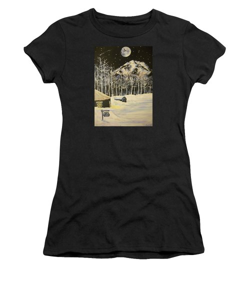 Full Moon At The Sundance Nordic Center Women's T-Shirt (Athletic Fit)