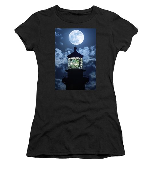 Full Moon Over Hillsboro Lighthouse In Pompano Beach Florida  Women's T-Shirt (Junior Cut) by Justin Kelefas