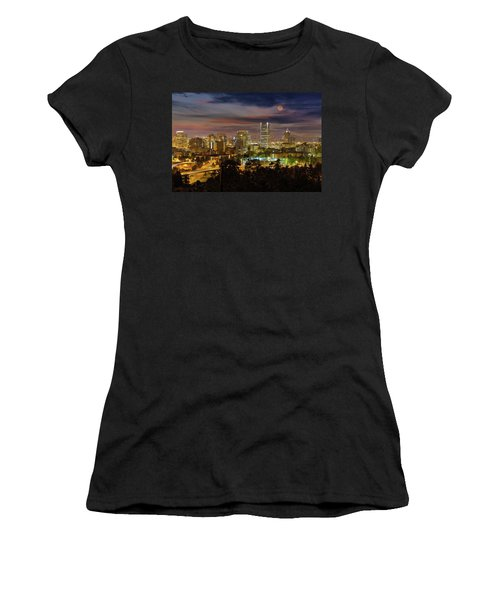 Full Moon Rising Over Downtown Portland Women's T-Shirt (Athletic Fit)
