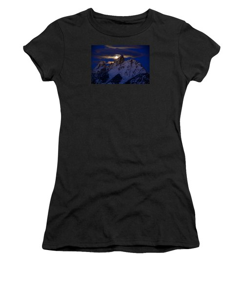 Full Moon Sets Over The Grand Teton Women's T-Shirt (Athletic Fit)