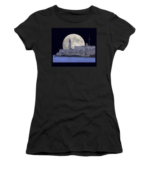 Full Moonrise Over The Castillo De Los Tres Reyes Magos Del Morro, Havana, Cuba Women's T-Shirt (Athletic Fit)