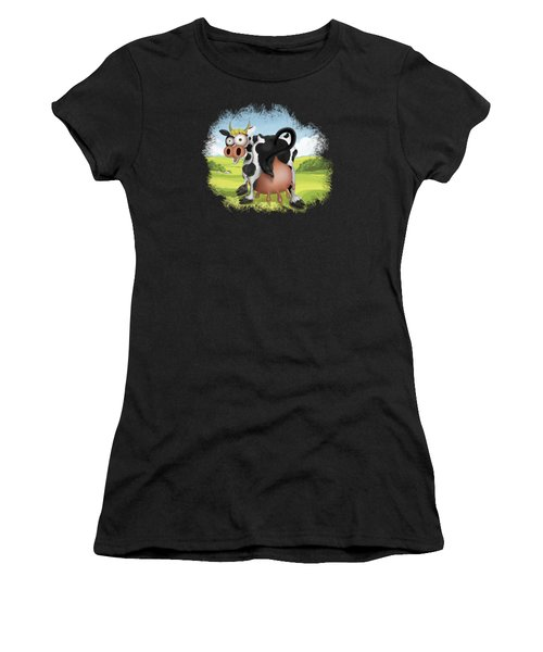 Women's T-Shirt featuring the drawing Funny Cow by Julia Art