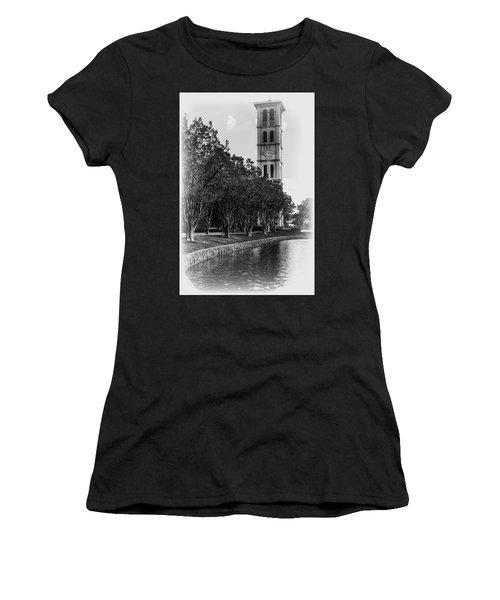 Furman University Bell Tower Greenville South Carolina Black And White Women's T-Shirt