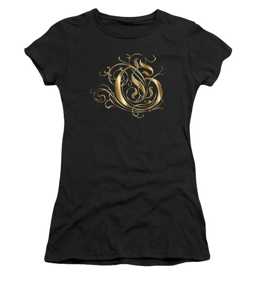 G Ornamental Letter Gold Typography Women's T-Shirt (Athletic Fit)